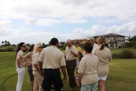 Borad members golf pep rally